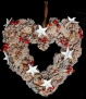 Frosted Berry & Cone Christmas Wreath - 33cm Heart